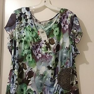 SWEET CLARITY blouse nwt purple/green floral 2X